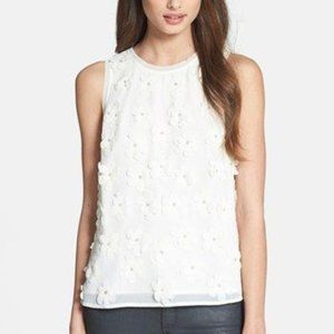 Search For Sanity White Floral Zip Tank Top Small